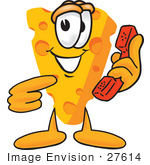 #27614 Clip Art Graphic Of A Swiss Cheese Wedge Mascot Character Holding And Pointing To A Red Phone