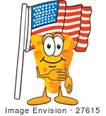 #27615 Clip Art Graphic Of A Swiss Cheese Wedge Mascot Character Pledging Allegiance To An American Flag