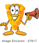 #27617 Clip Art Graphic Of A Swiss Cheese Wedge Mascot Character Holding A Red Megaphone Bullhorn
