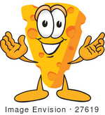 #27619 Clip Art Graphic Of A Swiss Cheese Wedge Mascot Character With Welcoming Open Arms