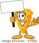 #27622 Clip Art Graphic Of A Swiss Cheese Wedge Mascot Character Waving A Blank White Advertisement Sign
