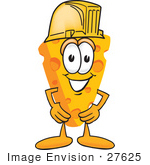 #27625 Clip Art Graphic Of A Swiss Cheese Wedge Mascot Character Wearing A Yellow Hardhat