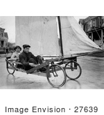 #27639 Stock Photo Of Two Men Having Fun And Pedaling Down The Street On A Sail Wagon Also Known As A Sand Yacht Or Land Yacht Brooklyn New York