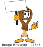 #27646 Clip Art Graphic Of A Chicken Drumstick Mascot Character Holding A Blank Sign