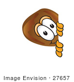#27657 Clip Art Graphic Of A Chicken Drumstick Mascot Character Peeking Around A Corner