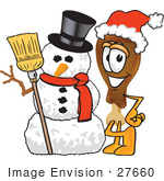 #27660 Clip Art Graphic Of A Chicken Drumstick Mascot Character With A Snowman On Christmas