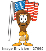#27665 Clip Art Graphic Of A Chicken Drumstick Mascot Character Pledging Allegiance To An American Flag