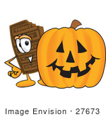 #27673 Clip Art Graphic Of A Chocolate Candy Bar Mascot Character With A Carved Halloween Pumpkin