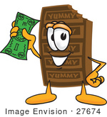 #27674 Clip Art Graphic Of A Chocolate Candy Bar Mascot Character Holding A Dollar Bill