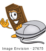 #27675 Clip Art Graphic Of A Chocolate Candy Bar Mascot Character With A Computer Mouse