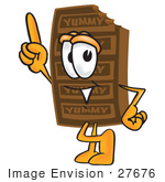 #27676 Clip Art Graphic Of A Chocolate Candy Bar Mascot Character Pointing Upwards