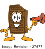 #27677 Clip Art Graphic Of A Chocolate Candy Bar Mascot Character Holding A Megaphone