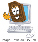 #27679 Clip Art Graphic Of A Chocolate Candy Bar Mascot Character Waving From Inside A Computer Screen