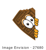 #27680 Clip Art Graphic Of A Chocolate Candy Bar Mascot Character Peeking Around A Corner