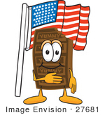 #27681 Clip Art Graphic Of A Chocolate Candy Bar Mascot Character Pledging Allegiance To An American Flag