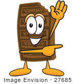 #27685 Clip Art Graphic Of A Chocolate Candy Bar Mascot Character Waving And Pointing