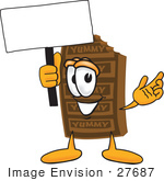 #27687 Clip Art Graphic Of A Chocolate Candy Bar Mascot Character Holding A Blank Sign