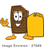 #27689 Clip Art Graphic Of A Chocolate Candy Bar Mascot Character Holding A Yellow Sales Price Tag