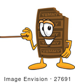 #27691 Clip Art Graphic Of A Chocolate Candy Bar Mascot Character Holding A Pointer Stick