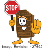 #27692 Clip Art Graphic Of A Chocolate Candy Bar Mascot Character Holding A Stop Sign