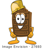 #27693 Clip Art Graphic Of A Chocolate Candy Bar Mascot Character Wearing A Hardhat Helmet