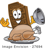 #27694 Clip Art Graphic Of A Chocolate Candy Bar Mascot Character Serving A Thanksgiving Turkey On A Platter