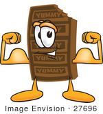 #27696 Clip Art Graphic of a Chocolate Candy Bar Mascot Character Flexing His Arm Muscles by toons4biz