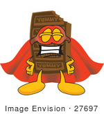 #27697 Clip Art Graphic Of A Chocolate Candy Bar Mascot Character Dressed As A Super Hero
