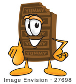 #27698 Clip Art Graphic Of A Chocolate Candy Bar Mascot Character Pointing At The Viewer