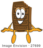 #27699 Clip Art Graphic Of A Chocolate Candy Bar Mascot Character Sitting