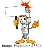 #27704 Clip Art Graphic Of A Spark Plug Mascot Character Holding A Blank Sign