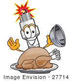 #27714 Clip Art Graphic Of A Spark Plug Mascot Character Serving A Thanksgiving Turkey On A Platter
