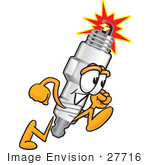 #27716 Clip Art Graphic Of A Spark Plug Mascot Character Running