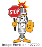 #27720 Clip Art Graphic Of A Spark Plug Mascot Character Holding A Stop Sign