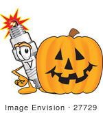 #27729 Clip Art Graphic Of A Spark Plug Mascot Character With A Carved Halloween Pumpkin