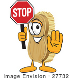 #27732 Clip Art Graphic Of A Scrub Brush Mascot Character Holding A Stop Sign