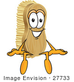 #27733 Clip Art Graphic Of A Scrub Brush Mascot Character Sitting