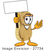 #27734 Clip Art Graphic Of A Scrub Brush Mascot Character Waving A Blank White Advertising Sign