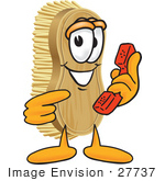 #27737 Clip Art Graphic Of A Scrub Brush Mascot Character Holding And Pointing To A Red Phone