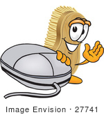 #27741 Clip Art Graphic Of A Scrub Brush Mascot Character Waving And Standing By A Computer Mouse