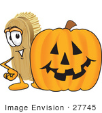 #27745 Clip Art Graphic Of A Scrub Brush Mascot Character Standing By A Carved Halloween Pumpkin