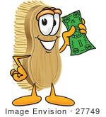 #27749 Clip Art Graphic Of A Scrub Brush Mascot Character Waving Cash In The Air