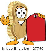 #27750 Clip Art Graphic Of A Scrub Brush Mascot Character Holding A Red Sales Price Tag