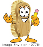 #27751 Clip Art Graphic Of A Scrub Brush Mascot Character Holding A Pencil