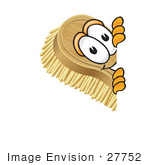 #27752 Clip Art Graphic Of A Scrub Brush Mascot Character Peeking Around A Corner