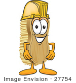 #27754 Clip Art Graphic Of A Scrub Brush Mascot Character Wearing A Yellow Hardhat Helmet