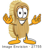 #27755 Clip Art Graphic Of A Scrub Brush Mascot Character With Welcoming Open Arms
