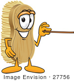 #27756 Clip Art Graphic Of A Scrub Brush Mascot Character Using A Pointer Stick To Point To The Right