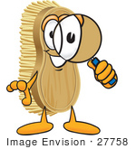 #27758 Clip Art Graphic Of A Scrub Brush Mascot Character Looking Through A Magnifying Glass