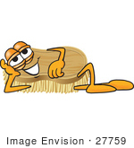#27759 Clip Art Graphic Of A Scrub Brush Mascot Character Lying On His Side And Resting His Head On His Hand